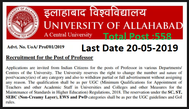 Allahabad University Professor Online application 2019 Last Date 20-05-2019