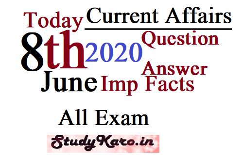 Today Top Current Affairs 2020 Top Facts 8 June