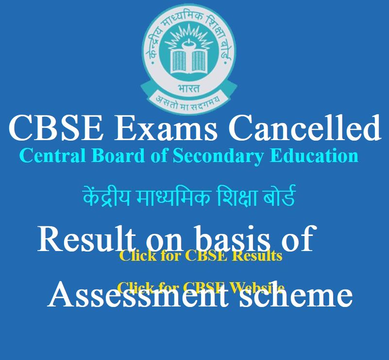 CBSE Exams cancelled Result on basis of assessment scheme